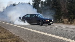 Bmw e34 M104 turbo 480whp Volvo 760 M60 turbo 600whp burnout
