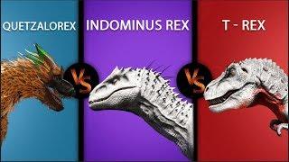Quetzalorex VS Indominus Rex VS Rex | Ark Survival Evolved BATTLE